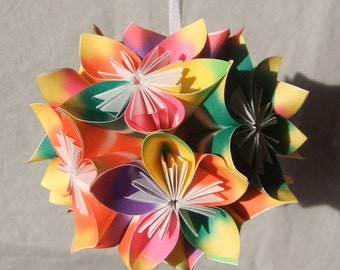 Tropical Dreams Small Origami Ornament~Christmas Tree Ornament~Origami Ball~Flower Ball~Fan Pull~Christmas Decor~Paper Flowers~Floral Decor