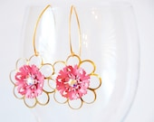 ROSEY GIRL vintage pink and gold flower earrings