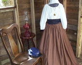 Civil War Colonial Prairie Pioneer Dress bonnet skirt blouse and apron-Womens 5 Piece