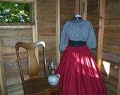 Civil War Day Dress Pioneer Colonial Skirt Print Blouse and Sash