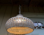 Vintage Wicker Farmhouse Shabby Cottage Wicker Lamp Hanging Swag Light Beach House
