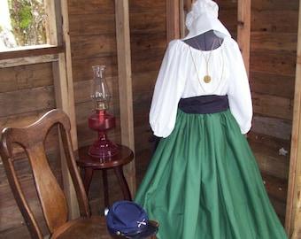 Civil War Colonial Prairie Pioneer Dress  skirt sash and blouse-Womens 3Piece