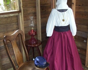 Civil War Colonial Prairie Pioneer Dress skirt sash blouse-Womens 3 Piece