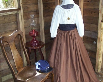 Civil War Colonial Prairie Pioneer Dress with skirt, blouse and sash 3 Piece