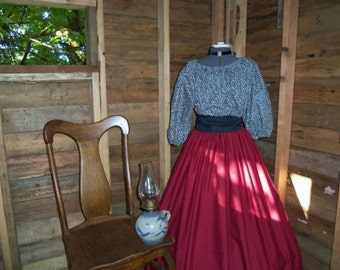 Civil War Day Dress Pioneer Colonial Skirt Print Blouse and Sash