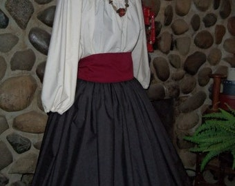 Renaissance Costume Civil War Skirt Peasant Pirate Blouse and Costume Reenactment 3pc
