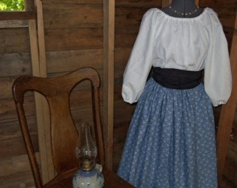 Custom Civil War Pioneer Colonial Print Skirt your choice, Blouse and Sash