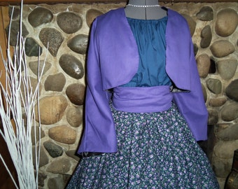 Civil War Colonial Prairie Pioneer Dress With Jacket Skirt Blouse and Sash-Girls