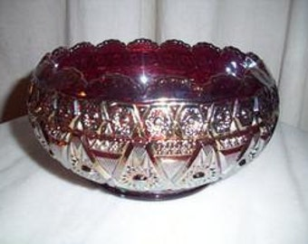 Vintage Imperial Glass Carnival Scaloped Edge Bowl