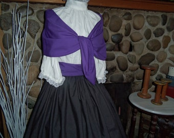 Ladies  Civil War Pioneer Prairie Victorian Colonial Tea Dress Gown Set 4 Pieces