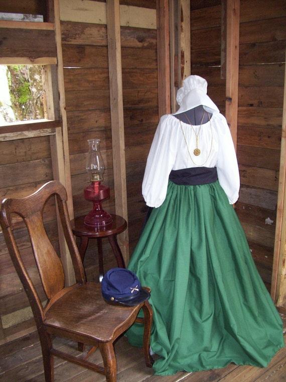 Womens Civil War Colonial Prairie Pioneer Dress skirt and sash blouse- 3 Piece
