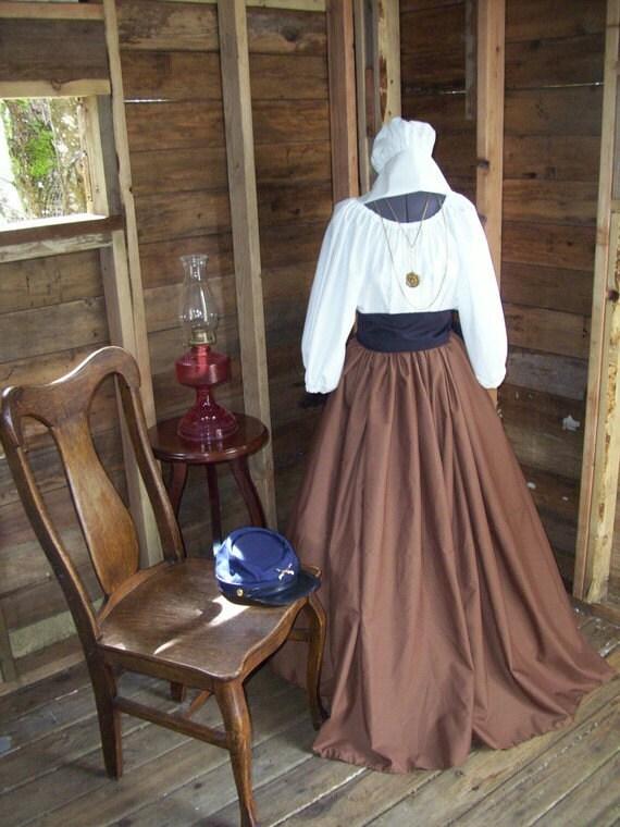Civil War Colonial Prairie Pioneer Dress Bonnet Skirt