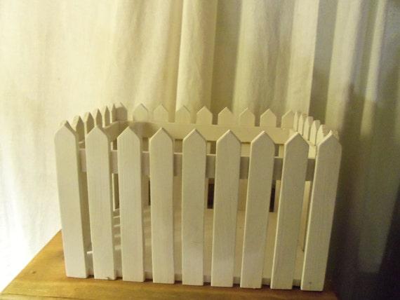 White Picket Fence Plant Planter Box Wood