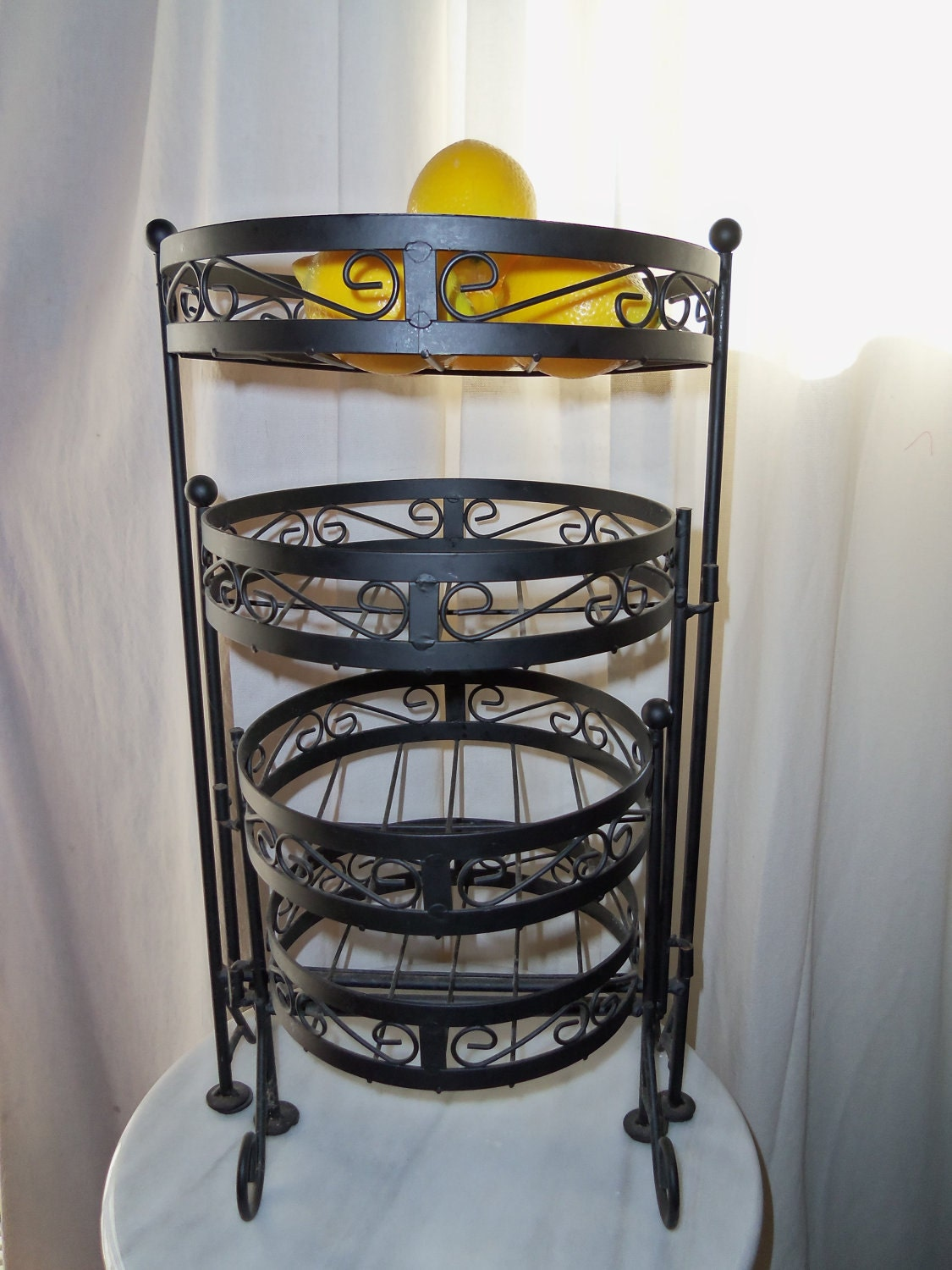 wrought iron fruit stand 3 tier baskets or garden decor on. Black Bedroom Furniture Sets. Home Design Ideas