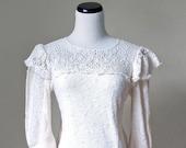 vintage white knit lace bib sweater