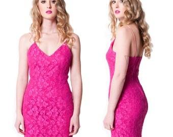 80's Pink Lace Diamond Strapped Dress