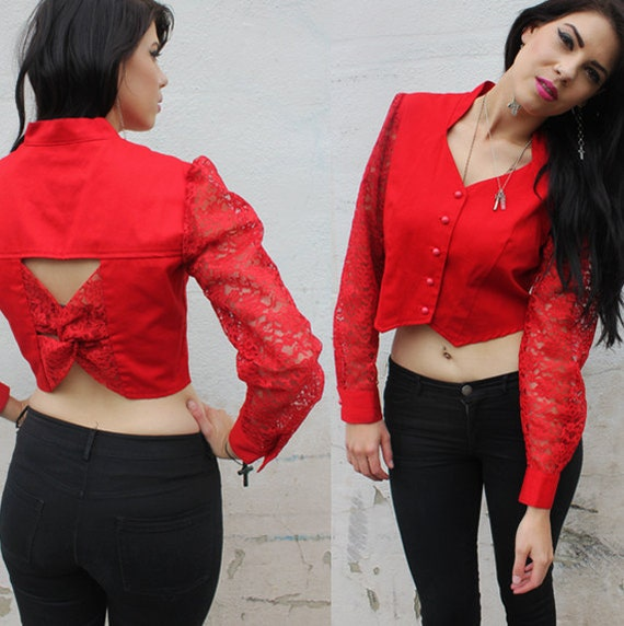 Red Western Lace Open Back Cross Top