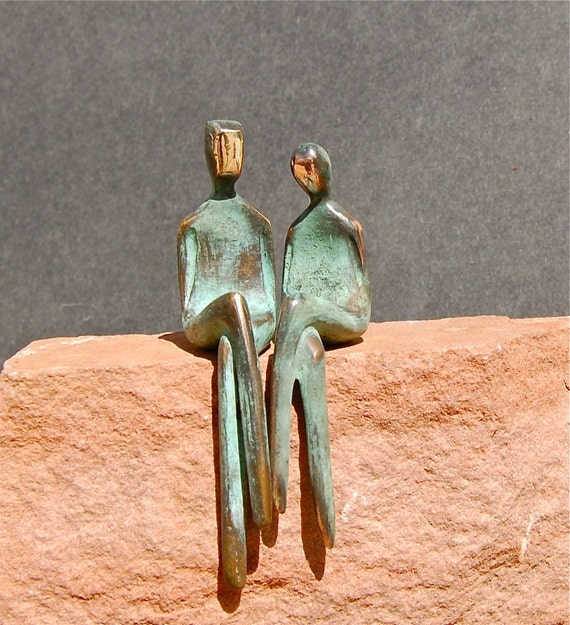 TWO OF US >> Romantic bronze sculpture of a loving couple. A bronze anniversary gift in black or turquoise
