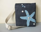 SALE : HIPSTER bag with adjustable strap - aqua starfish applique on blue denim with buttons
