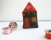RESERVED: Tiny HOUSE brooch. Rusty red, dark chocolate brown and orange with twinkle lights