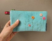 zippered clutch purse turquoise robin egg blue corduroy with pink buttons - MAIA