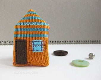 Tiny house brooch. Orange and turquoise stripes with chocolate door