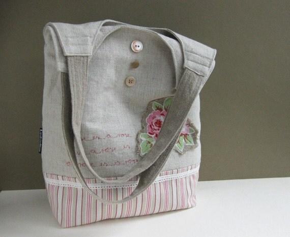 Hobo shoulder bag romantic English rose applique. oatmeal pink beige - PUPA