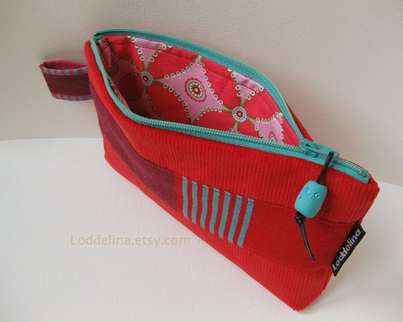 Zipper clutch heart red corduroy purse with purple red teal stripes and teal zipper