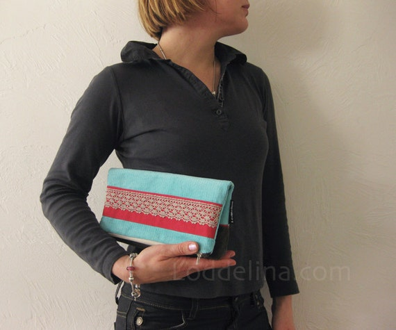 Foldover CLUTCH turquoise robin egg blue corduroy with red and dark olive green
