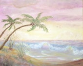 Pastel colored peaceful ocean, seascape,  Beachcomber series /9, 16x20 Original Acrylic Painting, large ocean painting.
