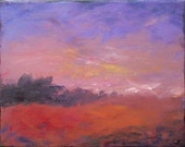 Small impressionist landscape painting, Lavender ending , 8x10 acrylic painting