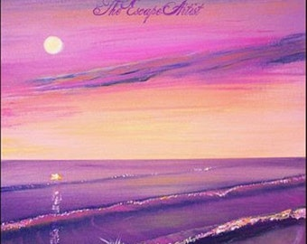 Pink and purple sunset painting, Moon and beach, Original colorful acrylic Painting 12x16