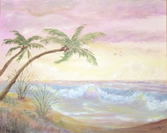 Pastel colored peaceful ocean, seascape,  Beachcomber series /9, 16x20 Original Acrylic Painting, large ocean painting.