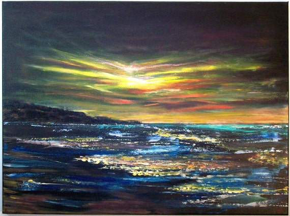 For Riannon only please-----Large Seascape Painting 18x24, 'Evening Tide'