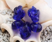CLEARANCED  Recycled Glass Bead Lampwork Bead Set/ Free Form (5) Blue Glass 3/12a