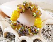 Handmade Lampwork Bead Set (9)  glass beads  yellow Summer Happiness