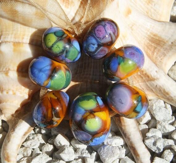 Handmade Lampwork Bead Set (7)  glass beads gold 1st Day of Summer