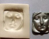 Art Doll Goddess face polymer clay mold NOT flexible