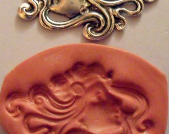 Lovely art deco woman polymer clay mold