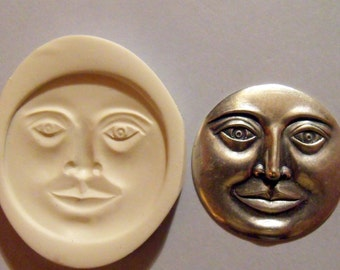 Large moon face polymer clay mold
