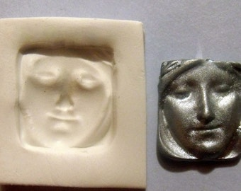 Art Doll Goddess face polymer clay mold NOT flexible