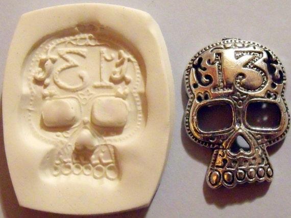 Steampunk / gothic skeleton skull polymer clay mold
