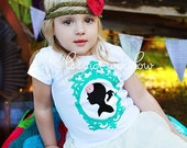 Girls Vintage Silhouette Tee in Turquoise LONG SLEEVES  18-24m only