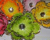 2 for 2.00 Dollars Sale-Cheetah Of Color Mixed Peony Clips-Lime/Hot Pink/Orange/Yellow/Pink