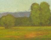 Original tonalist landscape oil painting on wood panel.