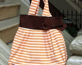 Striped Hobo Bag with Bow