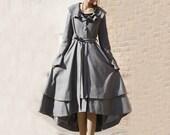 Ruffled Collar Winter Coat - Gray Long Wool Layered Skirt Asymmetrical Hemline & Bell  Sleeves  (MM63)