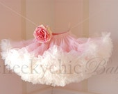 Pettiskirt Vintage Pink Ivory with flower -by Cheeky Chic Baby