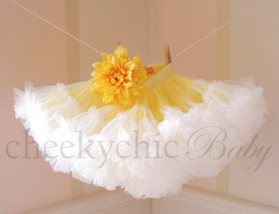 Pettiskirt Yellow White Layered with Flower -by Cheeky Chic Baby