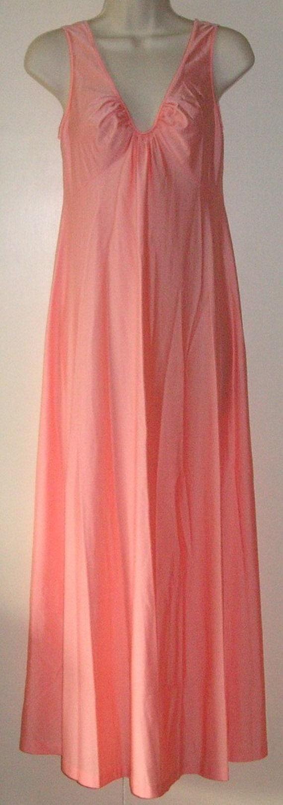 SHADOWLINE petite peach coral long nightgown Petite all nylon
